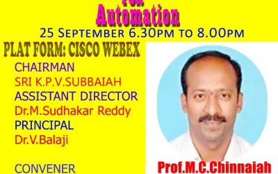 Department of ECE organised a webinar on VLSI TECHNOLOGIES FOR AUTOMATION
